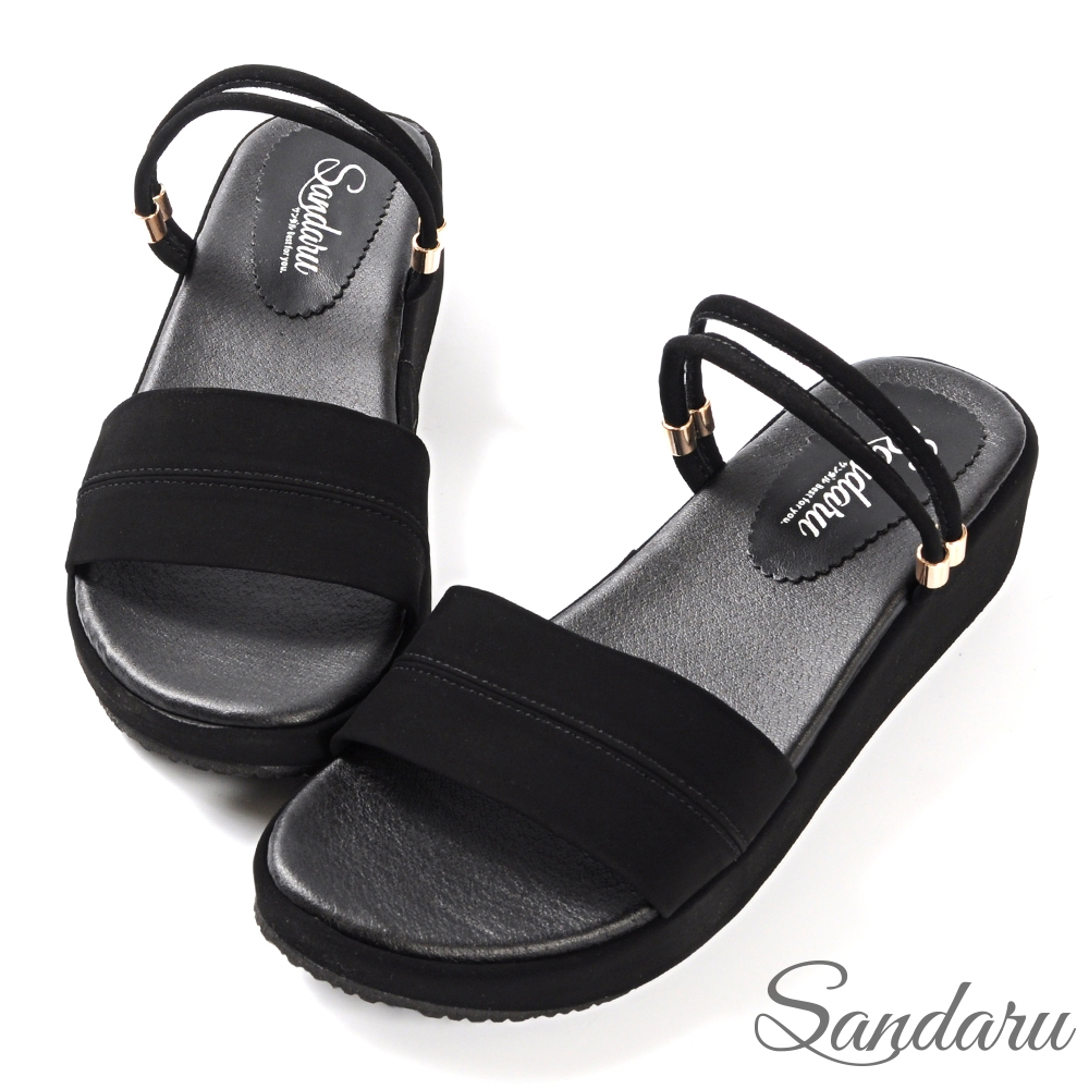 山打努SANDARU-涼鞋 簡約百搭寬版兩穿厚底涼鞋-黑絨 (黑絨)