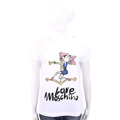 LOVE MOSCHINO 海盜女孩白色短袖T恤