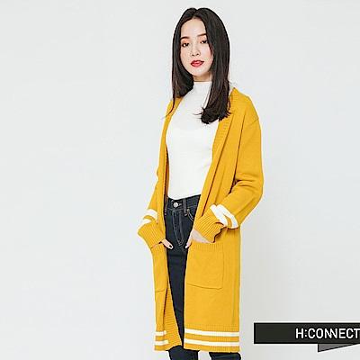 H:CONNECT 韓國品牌 女裝-滾邊雙口袋開襟外套-黃