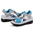 韓國KW美鞋館-(現貨)休閒網布拼接厚底涼鞋-藍