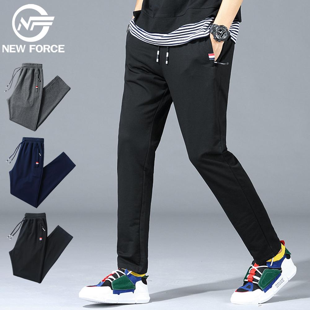 NEW FORCE 抽繩棉質直筒休閒褲-黑色