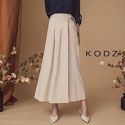 東京著衣-KODZ 歐風簡約打摺側綁帶A字中長裙-S.M(共一色)