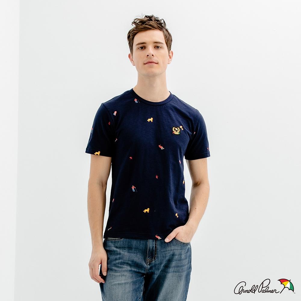 Arnold Palmer -男裝-60周年紀念LOGO T恤滿版印花套頭衫-深藍色