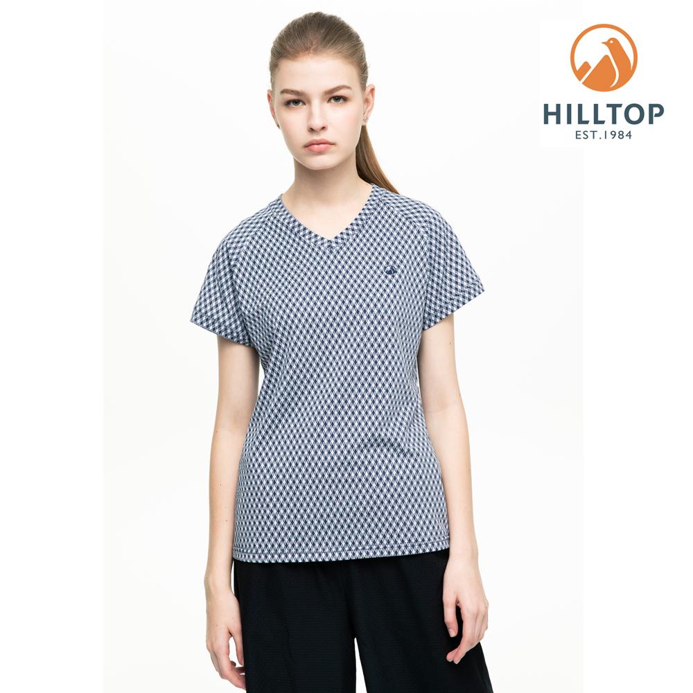 【hilltop山頂鳥】女款吸濕快乾抗UV彈性緹花T恤S04FI2深藍白