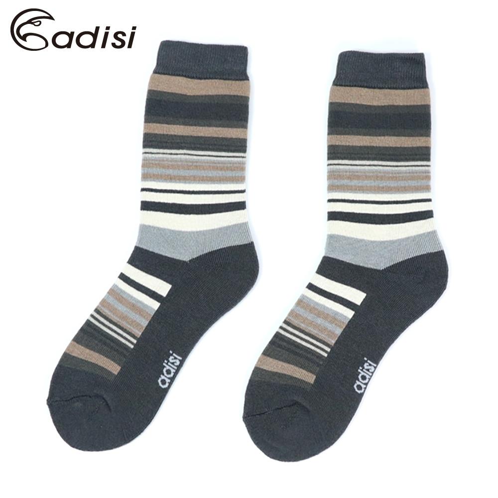 ADISI 條紋保暖對折雪襪 AS17044【灰棕】