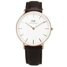 DW Daniel Wellington現代簡約淑女皮革腕錶-玫瑰金框x棕/36mm