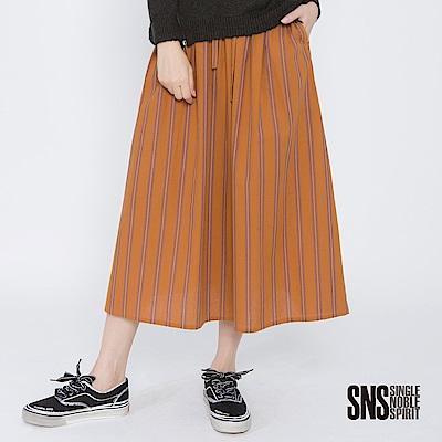 SNS 活力秋日配色條紋抽繩中長裙(2色)