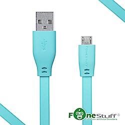 FoneStuff Micro USB傳輸扁線-30公分_2入組(晨曦藍)