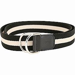 BALLY COPPER 雙D形環扣黑白條紋腰帶
