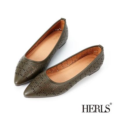 HERLS平底鞋 氣質優雅花窗鏤空尖頭平底鞋 墨綠色