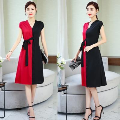 【韓國K.W.】超有型拚色元素綁帶V領桑蠶絲洋裝