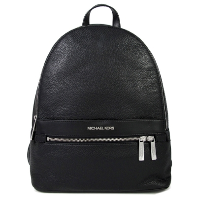 MICHAEL KORS Kenly 銀字Logo荔枝紋皮革前口袋雙肩後背包(黑色)