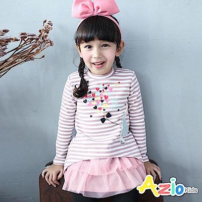 Azio Kids 上衣 條紋兔子愛心蝴蝶結長版長袖厚棉上衣(粉)
