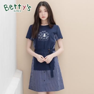 betty's貝蒂思 氣質款條紋拼接洋裝(深藍)