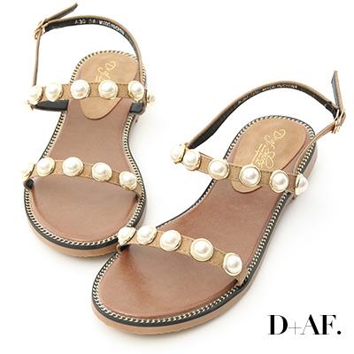 D+AF 人魚眼淚.精緻珍珠飾釦一字涼鞋*杏