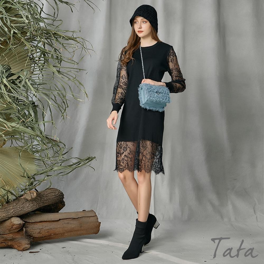 針織拼接蕾絲洋裝 共二色 TATA-(M~XL) (黑色)