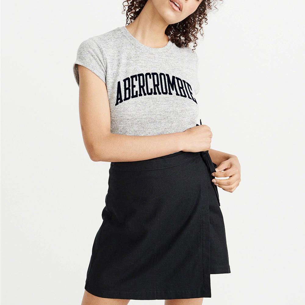 A&F 經典貼字設計短袖T恤(女)-灰色 AF Abercrombie