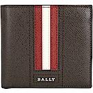 BALLY TRASAI 經典紅白條紋咖啡色八卡對折短夾