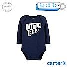 Carter's台灣總代理 趣味圖文深藍長袖包屁衣