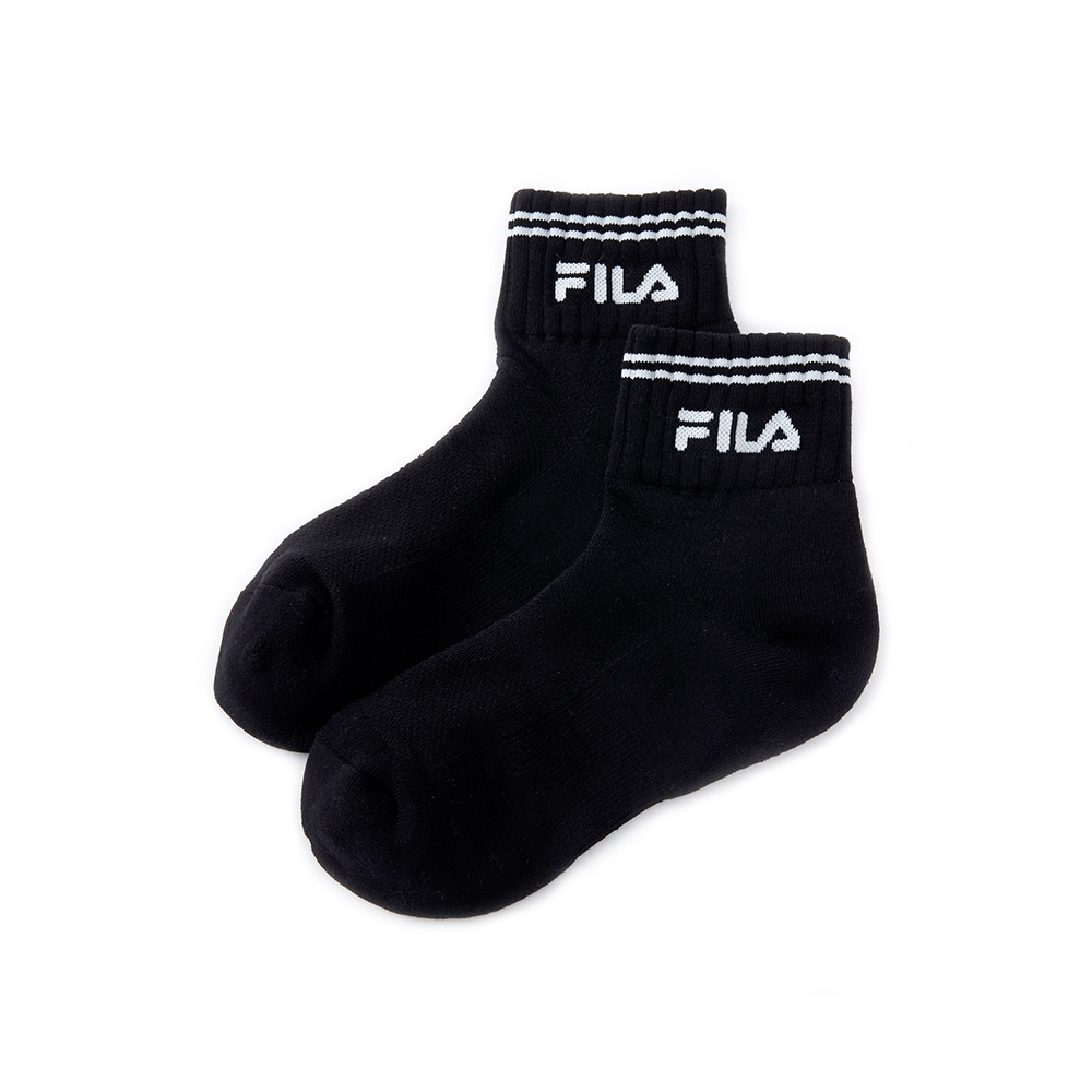 FILA 基本款半毛巾短襪-黑 SCU-5005-BK