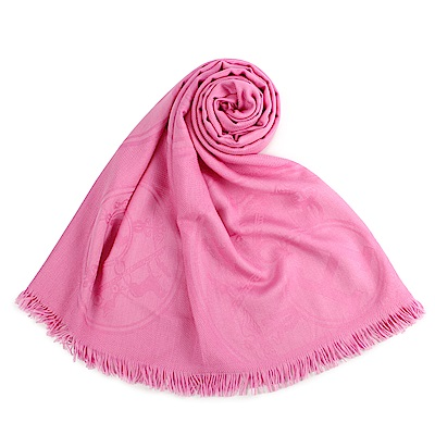 HERMES 經典家徽羊絨混絲圍巾(粉色)