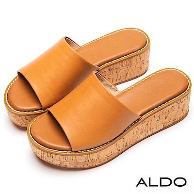 ALDO 原色羊皮鞋面軟木塞式厚底涼拖鞋~都會焦糖