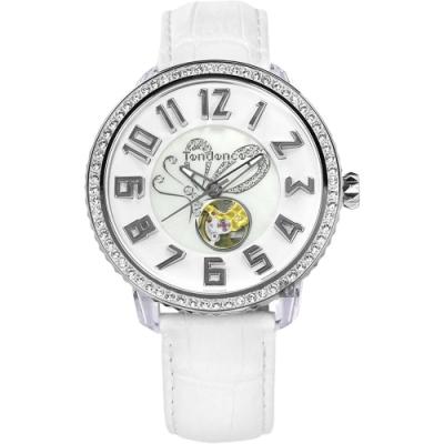 Tendence 天勢 晶鑽舞蝶小鏤空機械手錶-珍珠貝x白/48mm TY492003