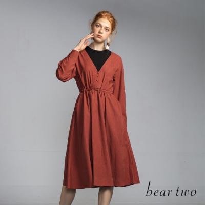bear two- 假兩件深V素色洋裝 - 紅