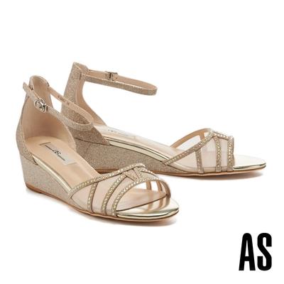 涼鞋 AS 奢華質感金蔥透膚水鑽楔型高跟涼鞋-金