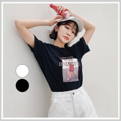 T恤 圓領個性印花短袖T恤NF11681-創翊韓都