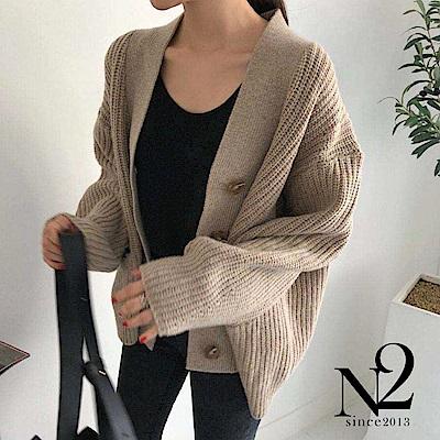 外套 正韓落肩設計V領顯瘦針織外套(杏) N2