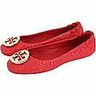 TORY BURCH Minnie Travel 金盾牌絎縫菱格折疊鞋(石榴紅)