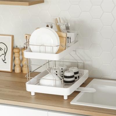 Naturnic 雙層設計碗盤瀝水架/碗盤架/碗盤收納/筷籃/杯架/韓國製/完美主義