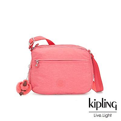 Kipling 甜美蜜桃橘素面前後大拉練方形側背包-小-CORA S