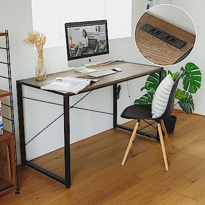 完美主義 工業風附插座工作桌/書桌/電腦桌/黑腳-128X60X77
