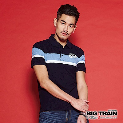 BIG TRAIN 加大寬版配色POLO衫-男-深藍