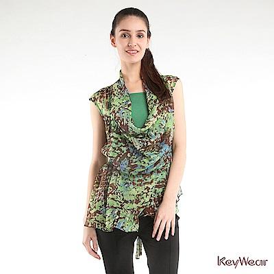 KeyWear奇威名品     時尚雪紡印花飄逸垂袖上衣-綠色