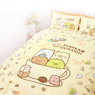 享夢城堡 雙人床包涼被四件組-角落小夥伴 咖啡杯-粉.黃