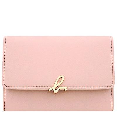 agnes b. 粉紅色皮革證件名片短夾