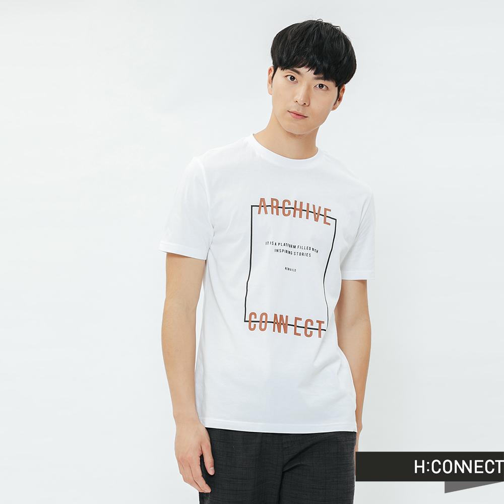 H:CONNECT 韓國品牌 男裝-活力字樣圓領T-shirt-白