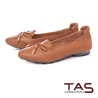 TAS 蝴蝶結牛皮沖孔娃娃鞋-質感卡其