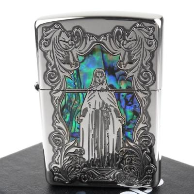 ZIPPO 日系~聖母瑪利亞-天然貝殼鑲嵌深蝕刻貼片加工打火機(銀色款)