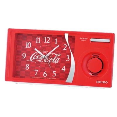 日本 SEIKO 可口可樂聯名 滑動式秒針 音樂鬧鐘(QHP901R)紅/15X7.5cm
