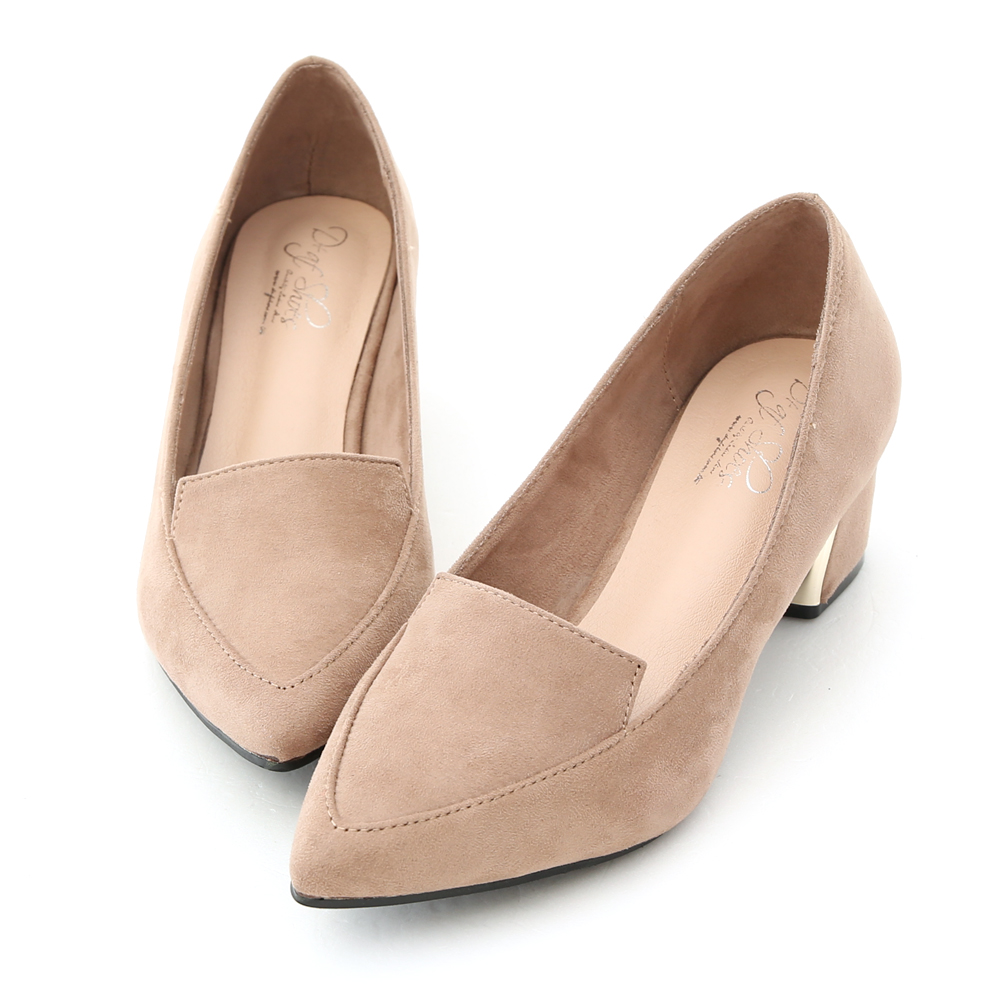 D+AF 都會典雅.素面絨料尖頭鍍金跟鞋*杏