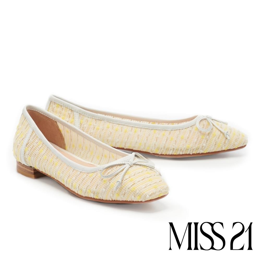 低跟鞋 MISS 21 時尚都會蝴蝶結小氣質方頭低跟娃娃鞋-黃