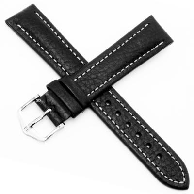 海奕施 HIRSCH Buffalo L 牛皮手錶帶-黑