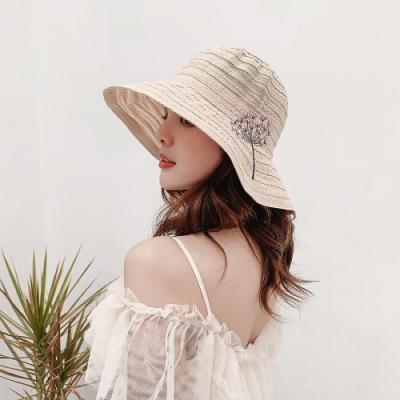 【89 zone】法式森系蒲公英刺繡純色防曬/遮陽帽(米)