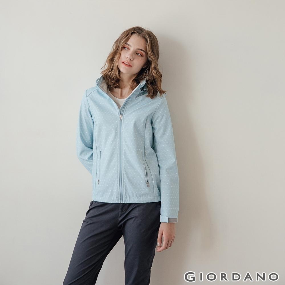 GIORDANO 女裝Softshell三合一高機能炫彩刺繡連帽外套-89雪白/淡藍