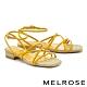 涼鞋 MELROSE 清新恬靜交叉細帶真皮方頭低跟涼鞋-黃 product thumbnail 1