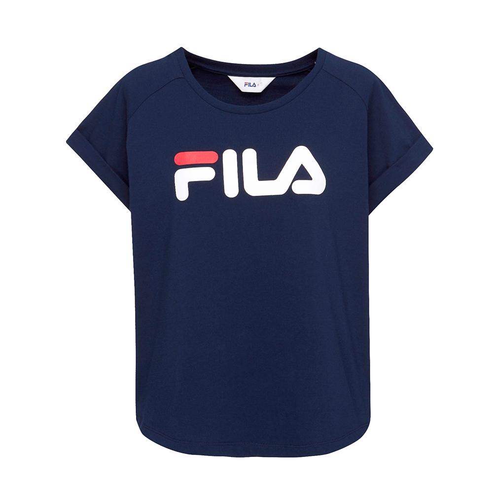 FILA 女款短袖圓領T恤-丈青 5TET-1505-NV